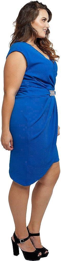 Stylzoo Womens Junior Plus Size Draped Dress with Asymmetrical Hemline