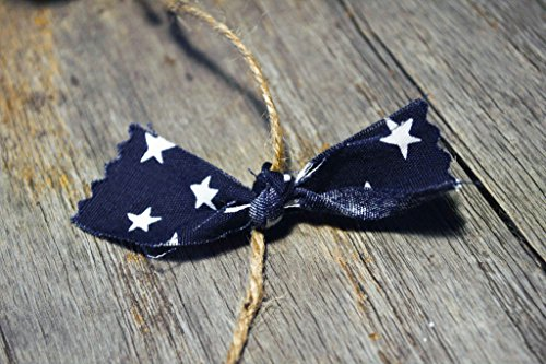 Navy blue white star rustic Americana fabric rag garland - unique wall pediment decor