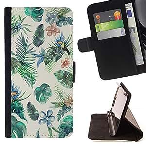 Momo Phone Case / Flip Funda de Cuero Case Cover - Pintura de Aves Selva colorido - HTC One M7