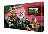 Home of Bengal 4 Cats Playing Poker Canvas Wall Art (10x12)