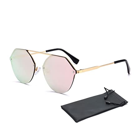 1f6784d53c73 Hexagon Sunglasses Fashion Designer Mirrored Aviator Sunglasses Metal Frame  Reflective Vintage Cateye Sunglasses Cute Trendy Tinted