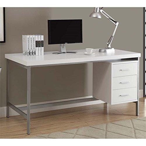 Monarch Hollow-Core/Silver Metal Office Desk, 60-Inch, White by Monarch