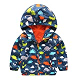 squarex Sunny Baby Girl Boy Hooded Zip Coat Cloak Jacket Thick Warm Clothes (18-24Months, Dinosaur Navy)