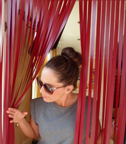 Wohnwagen-Türvorhang, Fliegengitter, Insektenschutz, Streifenvorhang -Rotwein- 62cm breit