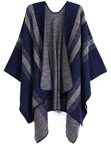 ADOMI Womens Winter Elegant Reversible Oversized Blanket Poncho Cape Shawl Cardigans Navy blue-2