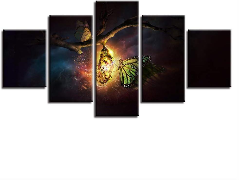DGGDVP Carteles modulares Lienzo Pintura Arte de la Pared 5 Piezas Abstracto Animal Mariposa Escena Nocturna Cuadros decoración Sala de Estar Impresiones Modernas tamaño 1 con Marco