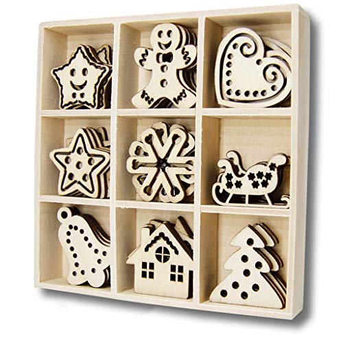 Wood Die Cut - YuQi 45 PCS Wooden Festive Scrapbooking Embellishments Sets with Storage Box, Mini Laser Cuts Wood Shapes, Sweet Xmas Wood Ornaments for Crafts Projects & Grandson Birthday Gifts