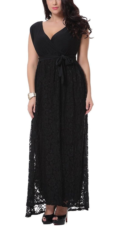 Brinny Damen Kleid Elegant Spitzen Sommer Aemerlos Langes Fishtail Brautjungfer Cocktailkleid mit Gürtel EU 38-52