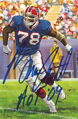 Bruce Smith Autographed Buffalo Bills Goal Line Art Card blue w/HOF 09 Bruce Smith Autographed Buffalo Bills