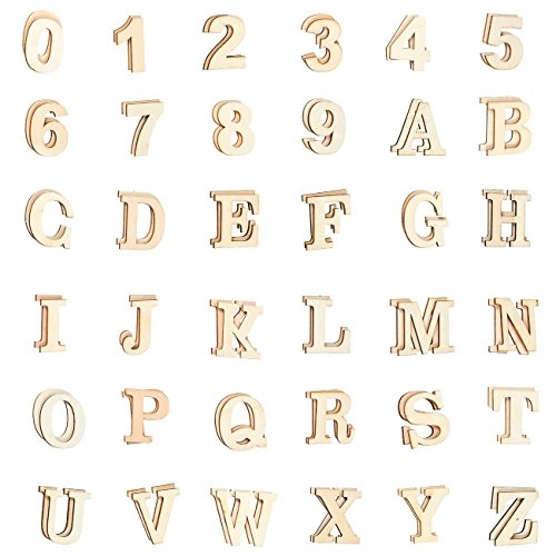 Wooden Letters - 72-Count Wood Alphabet Letters and Numbers for DIY Craft, Home Decor, Natural Color