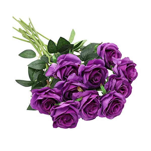 Nubry 10pcs Artificial Silk Rose Flower Bouquet Lifelike Fake Rose for Wedding Home Party Decoration Event Gift (Purple)