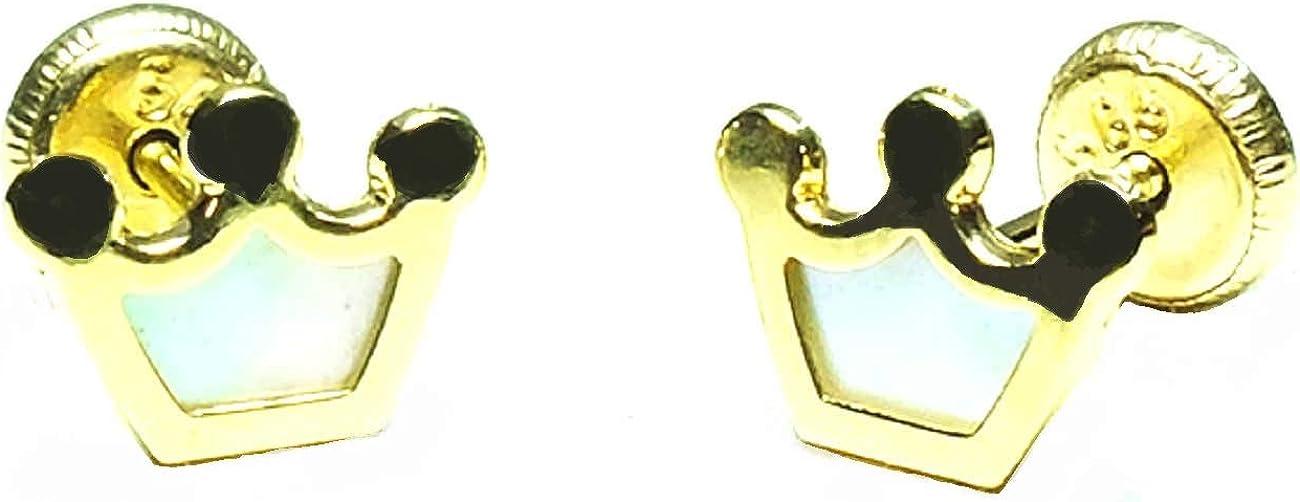 Pendientes de Bebe/Niña/mujer oro 18kts diseño corona con madre perla Nacar, Medida de la joya 8 x 6 mm. Con cierre de máxima seguridad.