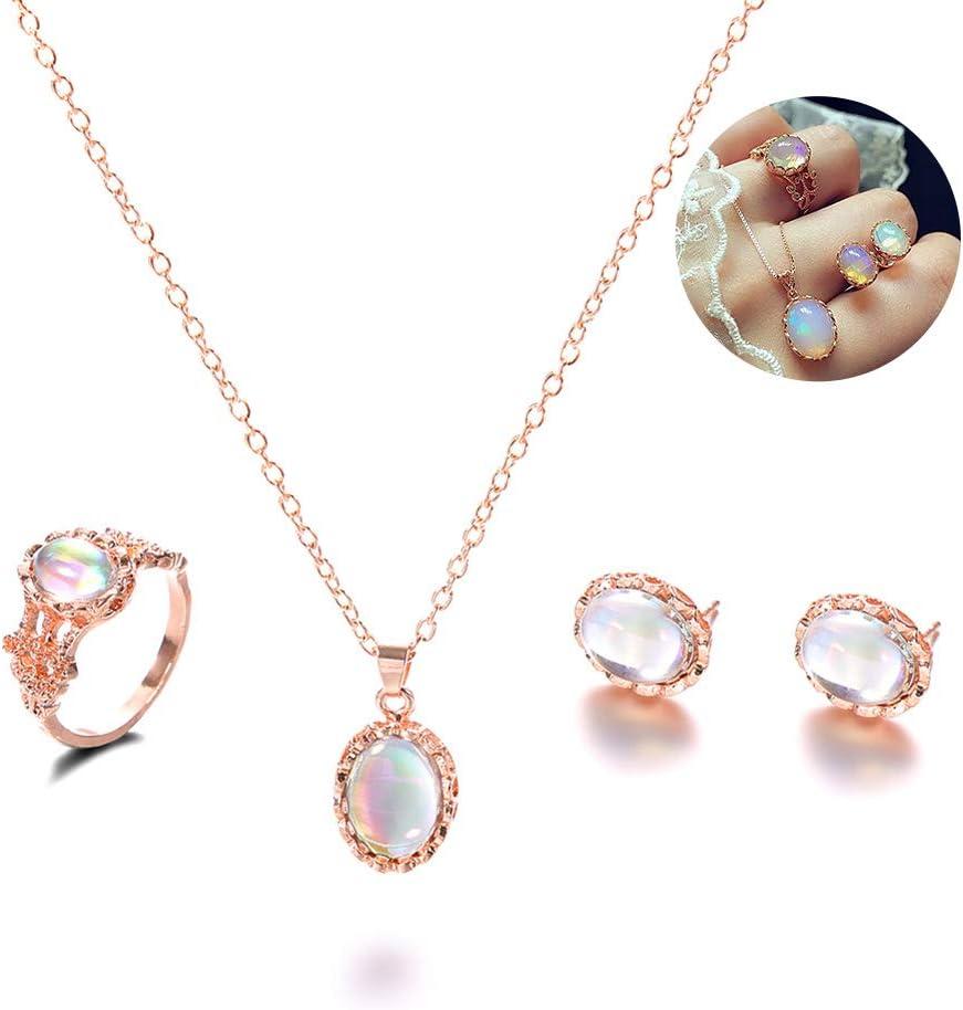 Ouken Regalo Determinado de la joyería Fina Anillo de Dedo Colgantes de ópalo Pendientes de Piedras Preciosas Birthstone Simulado 1set joyería Opal para Las Mujeres