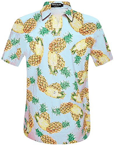 Polo Vintage Print Shirt (HWHColor Men's Hawaiian Aloha Party Shirt Pineapple Button Down Polo Tshirt with Front-Pocket)