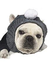 Stock Show Winter Dog Warm Hat Christmas Pet Dog Cute Fashion Woolen Hat White Pom-pom Ball Pet Headwear Headdress Costume Accessory Small Medium Dogs French Bulldog