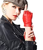 NappaNovum Women's Half Finger Leather With Silk Lining Performance Cycling Driving Gloves (L, Bright Red)