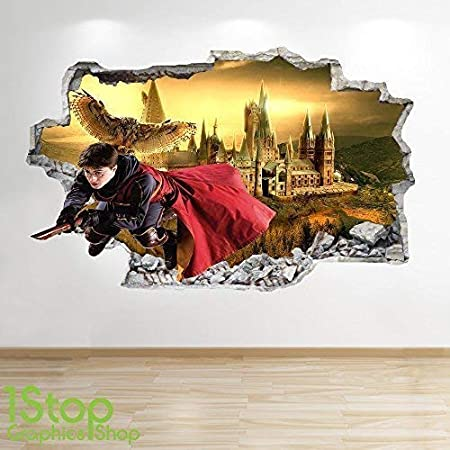 Large Chambre Enfants Poudlard Autocollant Mural Z587 1Stop Graphics Shop Harry Potter Autocollant Mural 3D Look 70 cm x 111 cm