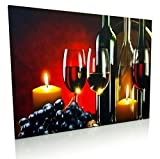 Wine and Grape Decor - LED Canvas Print with Red Wine Bottles and Glasses - Wine Themed Wall Decor - Wine Pictures