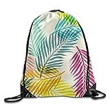 Portable Sport Gym Sack Drawstring Backpack Bag - Colorful Fine Leaves