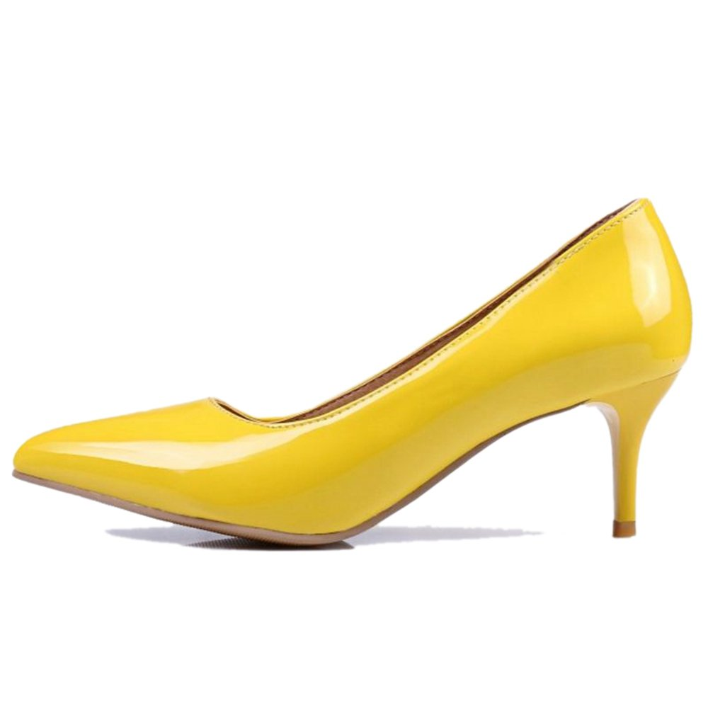 Smilice Women Plus Size US 0-13 Mid Heel Pointy Toe New Dress Pumps 6 Colors Available New B074RFD73Q 39 EU = US 8 = 24.5 CM|Yellow