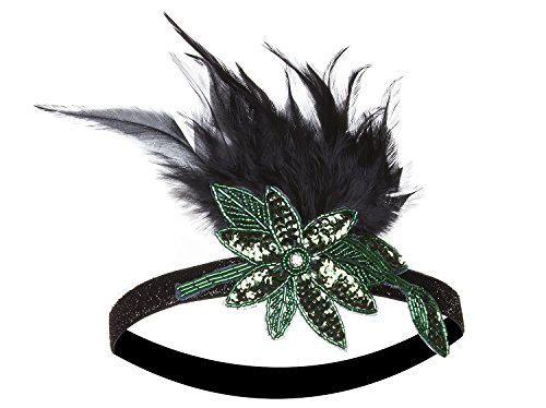 Vijiv 20s Headpiece Inspired Leaf 1920s Flapper Headband Great Gatsby Green (Homemade Gangster Woman Costume)