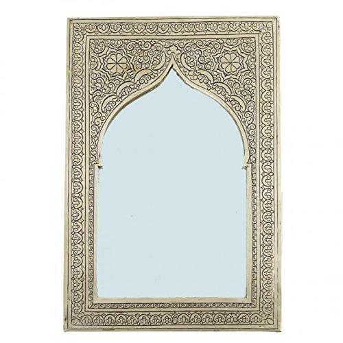 Casa Moro Oriental Espejo de Pared | Artesanias de Marruecos | 25,5 cm x 16,5 cm | Estilo Elegante y Vintage Tradicional Espejo como Las mil y una Noches | Espejo marroqui Assiya | SP9021