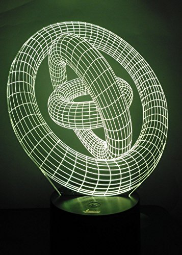 Loveboat USB Powered 7 Colors Amazing Optical Illusion 3D Glow LED Lamp Art Sculpture Lights Produces Unique Lighting Effects and 3D Visualization for Home Decor (Rings-In-Rings)