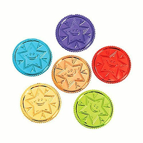 144 ~ Bright Idea Brilliant Star Plastic Coins ~ 1 1/8