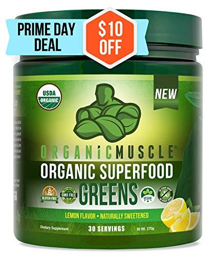 Certified Organic Superfood Greens Powder   #1 Green Juice Supplement for Energy, Detox, Immune & Gut Health w/Pre & Probiotic Blend   Vegan, Keto, Non-GMO, Lemon Flavor, 30 Serv   ORGANIC MUSCLE