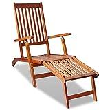 VidaXL per sedia a sdraio con poggiapiedi in legno di Acacia