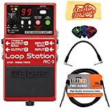 Boss RC-3 Loop Station Bundle with Instrument Cable, Patch Cable, Picks, and Austin Bazaar Polishing Cloth