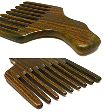 Meta-C Hair/Beard Pick/Comb – Made Of One Whole Piece Of Natural Green Sandal Wood With Fantastic Handle (Wide Tooth)