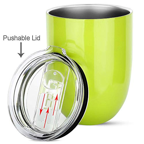 Insulated Wine Tumbler with Lid - Stainless Steel Insulated Stemless Glass Cup for Wine Water Coffee Drinks Champagne Cocktail at Home Party or Office, BPA Free