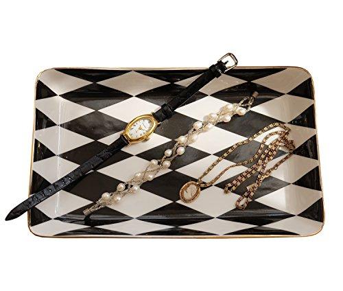 Eastyle Marble Rhombic Rectangular Jewelry Plate Jewelry Tray (Rhombic) Black Marble Tray