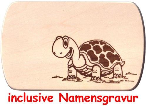 Frühstücksbrettchen Schildkröte Holzbrettchen 24 x 15 cm aus einem Stück inclusive Gravur eines Vornamens Vesperbrett Brotzeitbrett