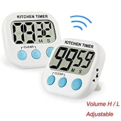 Digital Kitchen Cooking Baking Timer Countdown Up with Loud Alarm Large LCD Display Magnetic Backing Volume Control Switch Retractable Stand Indoor Outdoor Use White 2 Pack (Powered by AAA Battery)