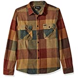 Brixton Men's Bowery Standard Fit Long Sleeve Flannel Shirt, Rust/Copper, S