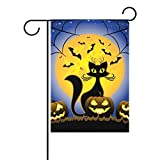 Cheap La Random Halloween Cat and Pumpkin Decorative Garden Flag Banner Polyester 28×40 Inches