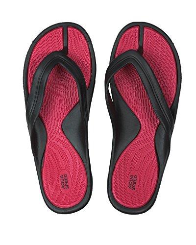 Aqua-Speed - Sandalias para mujer rojo/negro