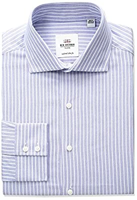 Ben Sherman Men's Dobby Stripe Spread Collar Dress Shirt