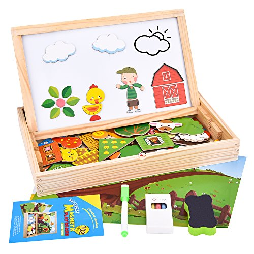 Wooden Magnetic Puzzle, 102 Pieces Animals Learning Educational Wooden Jigsaw Puzzle Toys, Puzzle Games Double Sided Magnetic Drawing Board for Kids with 3 Background Cards (Animal Farm) by ROOYA BABY