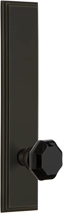 Grandeur Hardware 851021 Carre Tall Plate with Lyon Knob Privacy Backset Size 2.75 Timeless Bronze