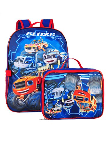 Monsters Lunch Box - Blaze and the Monster Machines Backpack with Insulated Lunchbox - royal blue