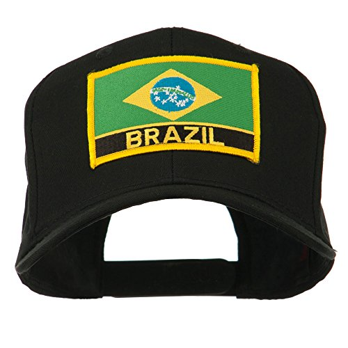 South America Brazil Flag Patched High Pro Style Cap - Black (Brazil Flag Cap)