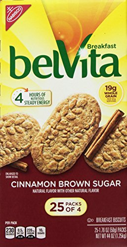 Belvita Cinnamon Brown Sugar Biscuits, 1.76 oz, 25 Count, 4 (Biscuit Sugar)