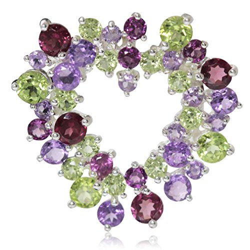 (Silvershake Natural Peridot Amethyst and Rhodolite Garnet White Gold Plated 925 Sterling Silver Heart Pendant )