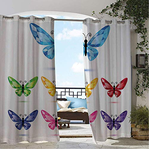 Linhomedecor Patio Waterproof Curtain Diamonds Lively Colored Butterflies Rhinestone Wings Spring Exuberance Digital Print Multicolor Porch Grommets Print Curtains 84 by 72 inch