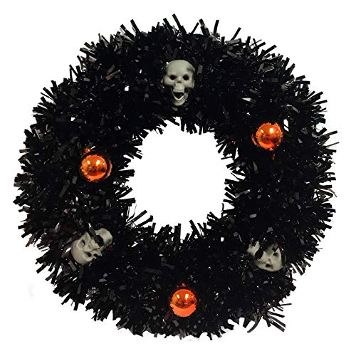 Halloween Black Tinsel Wreath with Skulls and Orange Ornaments 14 Inch -