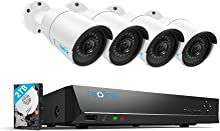 Reolink 4MP 8CH PoE Security Camera System 4 Outdoor 4MP Surveillance IP Cameras with 5MP NVR 2TB HDD Super HD 2560x1440 100ft Night Vision RLK8-410B4