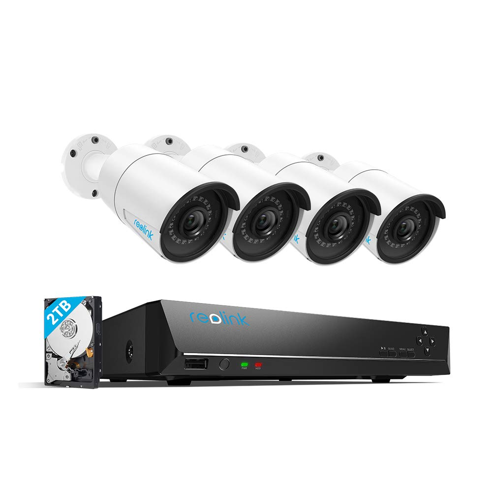 Reolink 8CH PoE Home Security Camera System Four Outdoor 4MP Surveillance IP Cameras with 4MP NVR 2TB HDD Super HD 2560x1440 100ft Night Vision RLK8-410B4